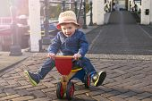 picture of tricycle  - cute little boy playing outdoors with a tricycle - JPG