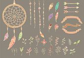foto of dream-catcher  - Hand drawn native american feathers dream catcher beads arrows and flowers vector illustration - JPG