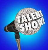 picture of singing  - Talent Show words in 3d letters on a microphone to illustrate or advertise a singing competition or event for performance - JPG