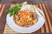 image of rice noodles  - Pad thai or phat thai is a stir fried rice noodle dish - JPG