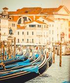 picture of gondola  - beautiful gondolas in a canal in Venice - JPG