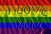 foto of gay pride  - gay proud flag in the sand illustration computer illustration - JPG