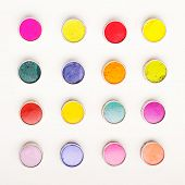 image of holi  - Vivid Indian Holi festival colours in rows - JPG