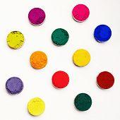 image of holi  - Colorful Indian Holi festival dyes on white background - JPG