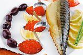 foto of plate fish food  - diet food  - JPG