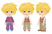 picture of pajamas  - a blond boy seen from the front and side and in his pajamas - JPG
