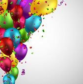 picture of confetti  - Celebration background with colorful balloons and confetti - JPG
