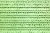 image of shingles  - Detail of a facade made of shingles which were later painted over with light green color - JPG