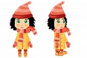 picture of dark side  - A dark haired girl dressed in winter clothes seen from front and side - JPG