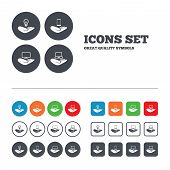 picture of tv sets  - Helping hands icons - JPG