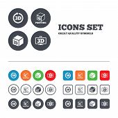 stock photo of tv sets  - 3d tv technology icons - JPG