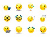 foto of emoticon  - Funny and cute anime emoticons students in the classroom - JPG