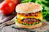 pic of beef-burger  - Bacon burger with grilled beef cutlet and tomato - JPG