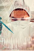 stock photo of protective eyewear  - Portrait of a protected female science student dropping blue liquid in a test tubes against science and medical graphic - JPG