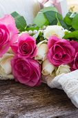 foto of mother-of-pearl  - pink and white  roses with lace and pearls - JPG