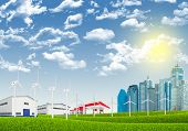 picture of petrol  - Cityscape with petrol and wind power stations on nature background - JPG