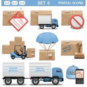 stock photo of parachute  - Postal Icons Set 6 including truck - JPG