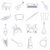 pic of bagpiper  - musical instruments of musician outline vector icons set - JPG
