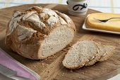 picture of fresh slice bread  - Traditional fresh german crust bread and slices - JPG