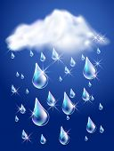 image of rain clouds  - Clouds and rain in the dark blue sky - JPG
