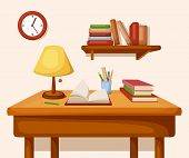 picture of book-shelf  - Vector room interior with table with books and lamp on it - JPG
