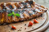 image of ribs  - Grilled Pork Ribs On The Wooden Board - JPG
