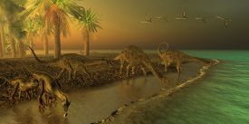 picture of omnivore  - Three Uberabatitan dinosaurs share a Cretaceous seashore with two Hypsilophodon dinosaurs coming down for a drink and a flock of Quetzalcoatlus birds - JPG