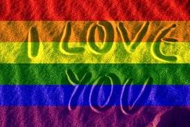 stock photo of gay pride  - gay proud flag in the sand illustration computer illustration - JPG
