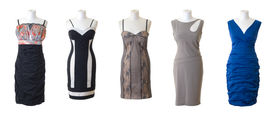 foto of dress mannequin  - Female mannequins in different types of long dresses - JPG