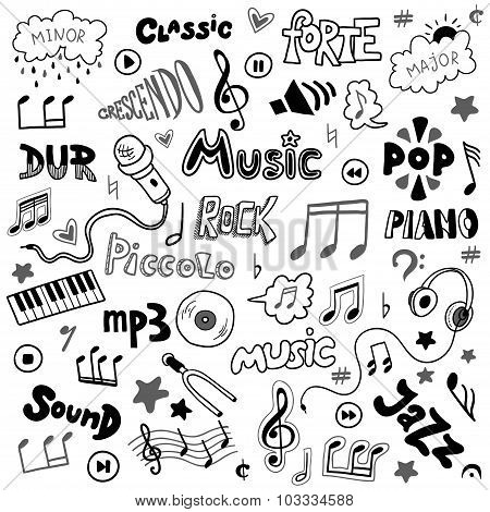 Vector Set Of Hand Drawn Doodles On Music Theme Colorless Music