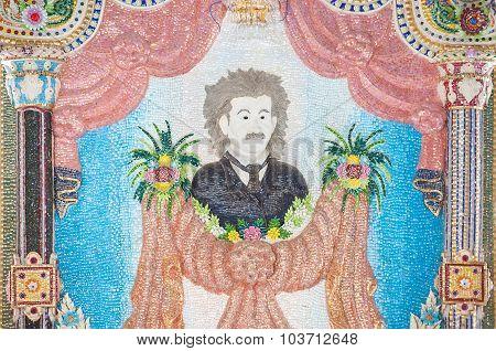 poster of Mosaic Of Albert Einstein On An Interior Wall At Wat Pariwat, Bangkok