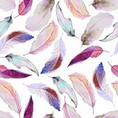Постер, плакат: Watercolor pattern with feathers