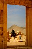 picture of euphrat  - woman on camel in ancient palmyra in syria - JPG