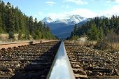 foto of train track  - a train track in the canadian rockies - JPG