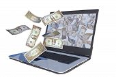 dollar bills flying out laptop screen