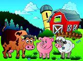 pic of farm animals  - Three farm animals near barn  - JPG