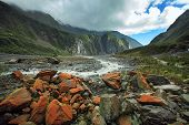 Land Scape Of Fox Glacier In South Island New Zealand Important Traveling Destination poster