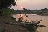 Sunset Over The Olifants River, Balule Nature Reserve, South Africa.