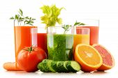 Glasses With Fresh Organic Vegetable And Fruit Juices On White poster