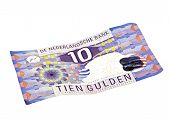 Old dutch money: Ten guilder note on a white background