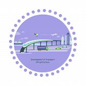 Постер, плакат: Development of Transport Infrastructure Icon Flat
