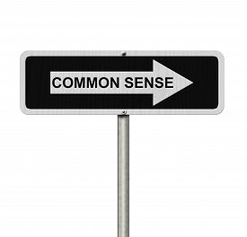 picture of senses  - The way to Common Sense Black and white street sign with word Common Sense isolated on white - JPG