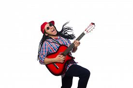 foto of dreadlock  - Man with dreadlocks holding guitar isolated on white - JPG