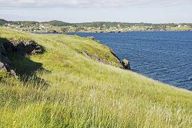 stock photo of trinity  - Atlantic ocean coast with settlement in Trinity Bay Newfoundland Canada - JPG