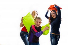 image of pillow-fight  - Happy children in a pillow fight - JPG