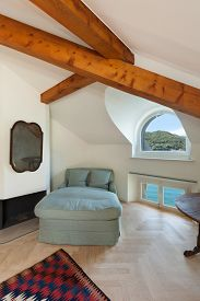picture of mansion  - New bedroom of an old luxury mansion  - JPG