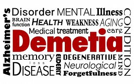image of medical condition  - Dementia word in a collage of related medical terms and conditions such as Alzheimer - JPG