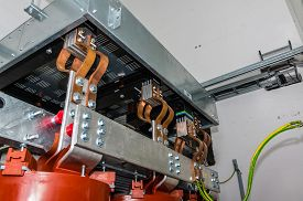 stock photo of transformer  - Closeup view on transformer on the site - JPG