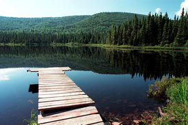 picture of dock a lake  - landscape of wooden pier with view of the lake - JPG
