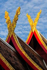 foto of apex  - Gable Apex With Sky In Thai Temple - JPG